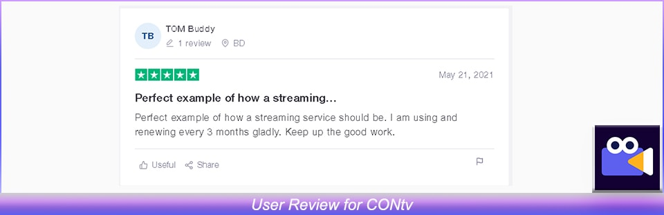 User Review of CONtv