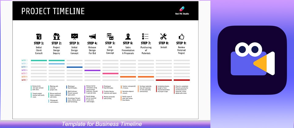 Template for Business Timeline