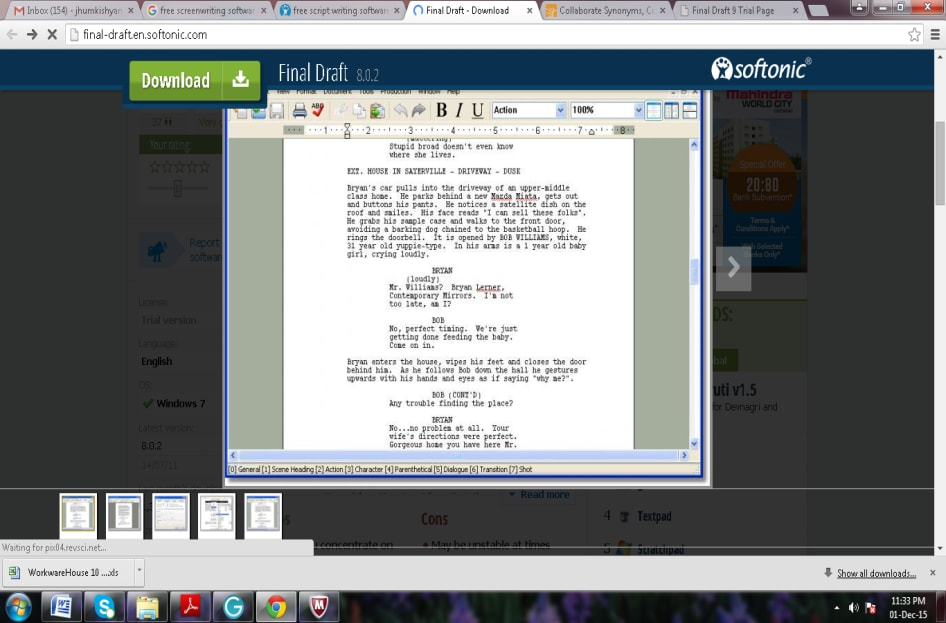 screenwriting software free