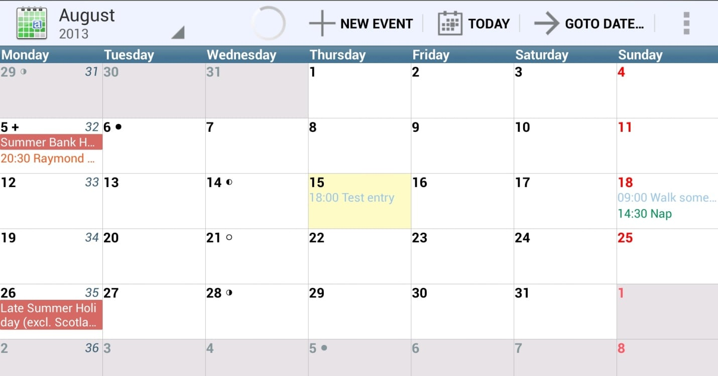 Monthly Calendar Views : Best free calendar app for android