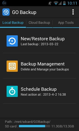 Go backup and restore android