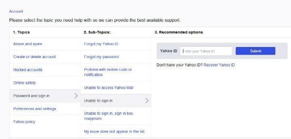 Yahoo-Kontowiederherstellung