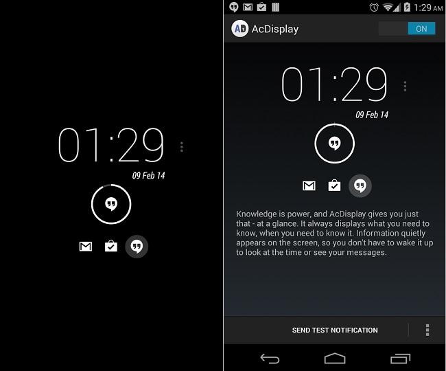 application écran de verrouillage android: AcDisplay