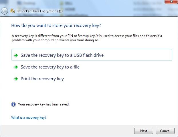 encryp save recovery key
