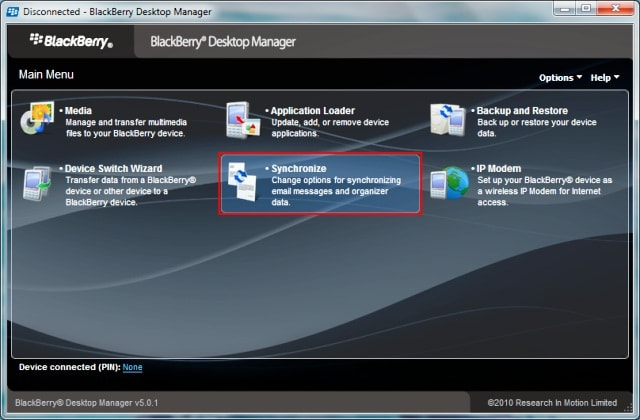 Blackberry desktop manager.