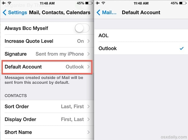 how to change my email address on my iphone 5