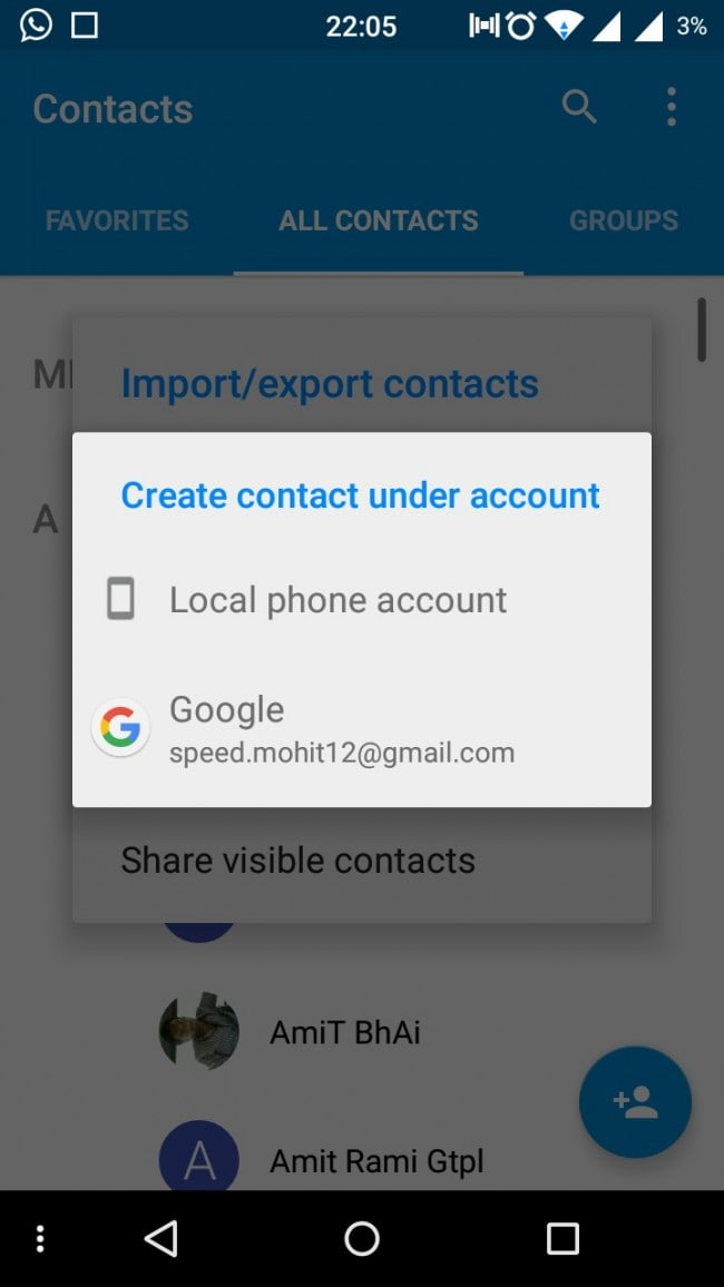 backup android contacts to google account step 4