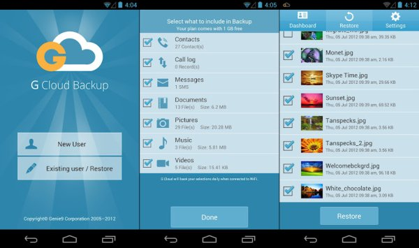 G cloud backup android phone