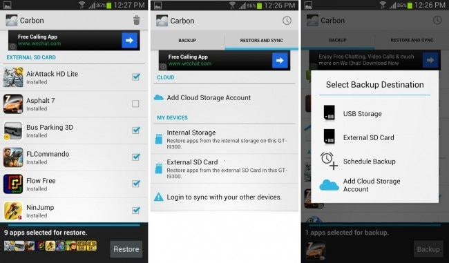 helium backup for android phone