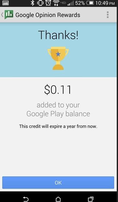 Obtenez du crédit Google Play gratuit en utilisant Google Opinion Rewards