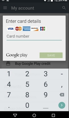 Add Credit or Debit card to Google Account