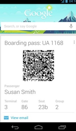 Google Now Boarding Pass