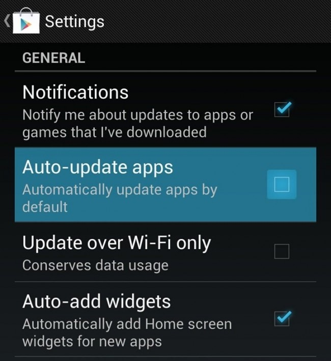 turn off the automatic app updates on Android