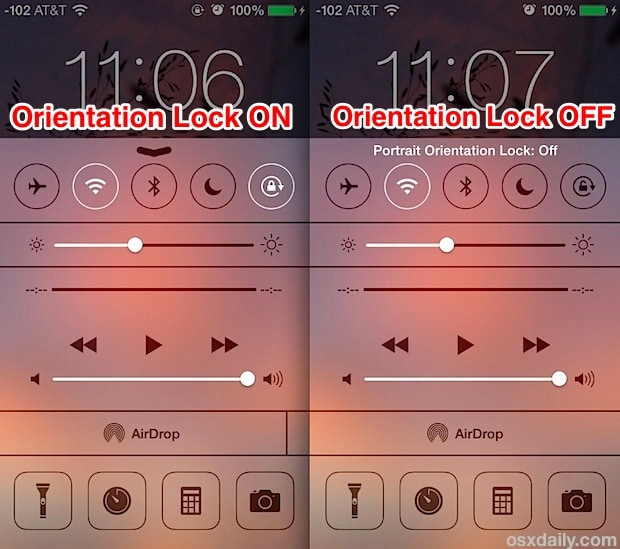 enable orientation lock on ios devices
