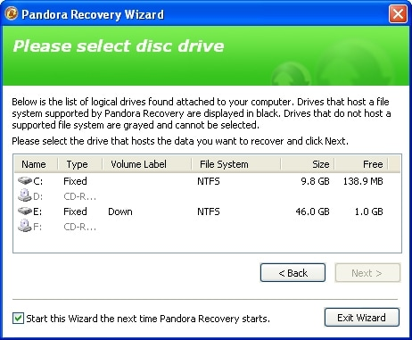 recover deleted photos with pandora recovery software step 2