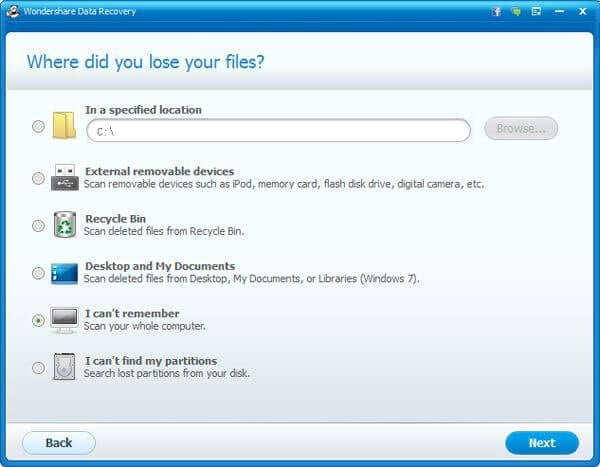 wondershare data recovery for nikon camera recvoer lost photo step 3