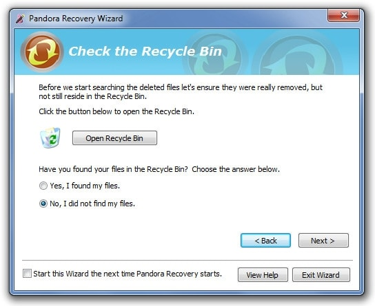 recover deleted photos with pandora recovery software step 3