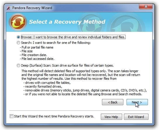 recover deleted photos with pandora recovery software step 4
