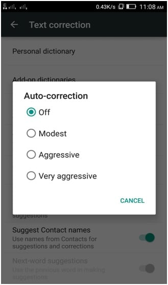 disable Autocorrect on Android