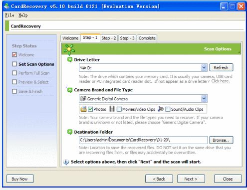 recover deleted photo with CardRecovery software step 2