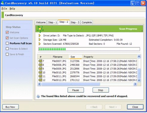 recover deleted photo with CardRecovery software step 3