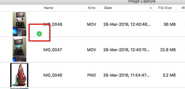 Transfer Videos from iPad to Mac with Image Capture - Step 5: transfer succeeds