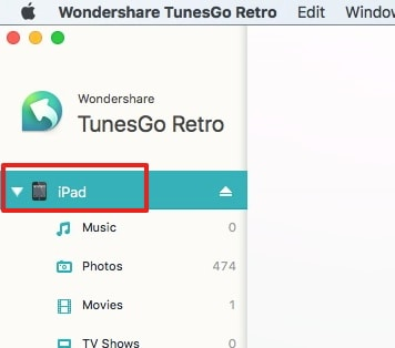 Transfer Videos from iPad to Mac with TunesGo Retro(Mac) -step 2: connect iPad with Mac