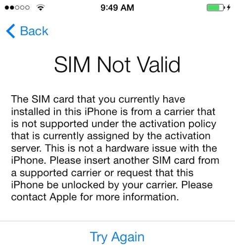 no sim issue