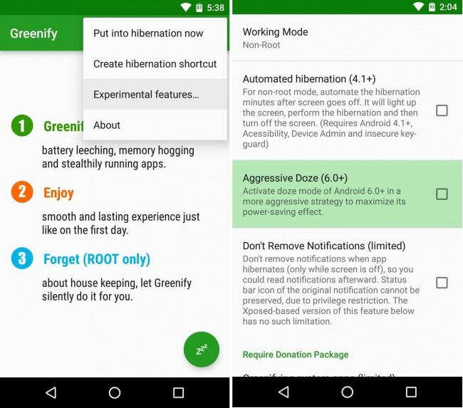 improve android 6.0 battery life with greenify step 3
