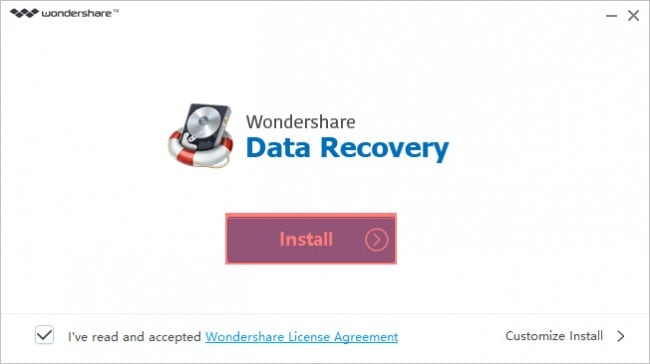 Wondershare Data Recovery Install Process 1