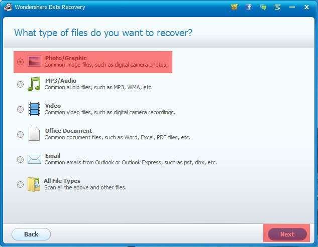 Wondershare Data Recovery Select the File Type