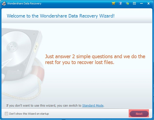 Wondershare Data Recovery Recovery Process Initiation