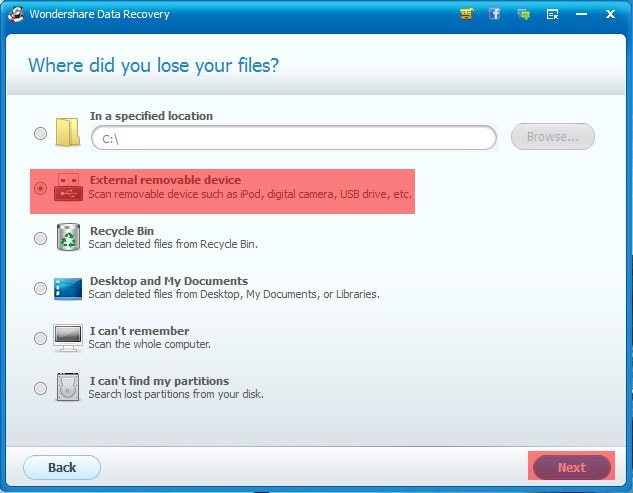 Wondershare Data Recovery Select Files Location