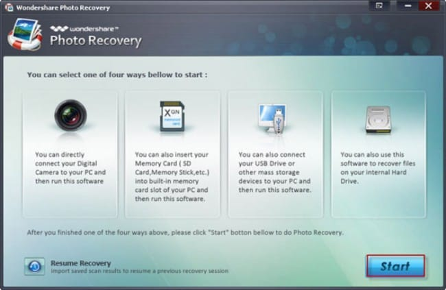Wondershare Photo Recovery for Recover lost photo step 1