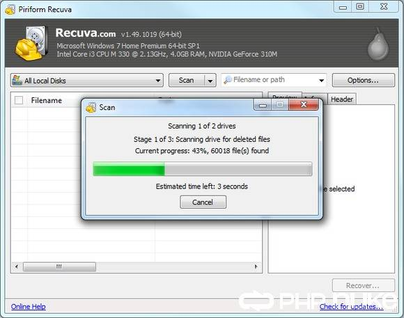 Recover lost photo from Sony Alpha DSLR Camera with Recuva step 3