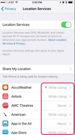switch off location service in ios 9