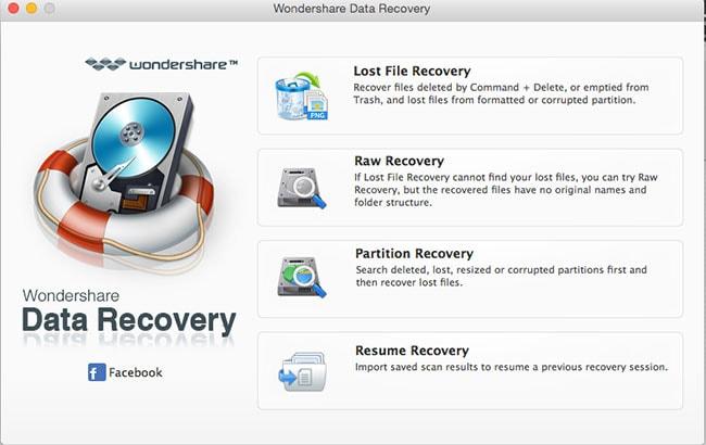 recuperare file eliminati con Wondershare Mac Recupero Dati passo 1