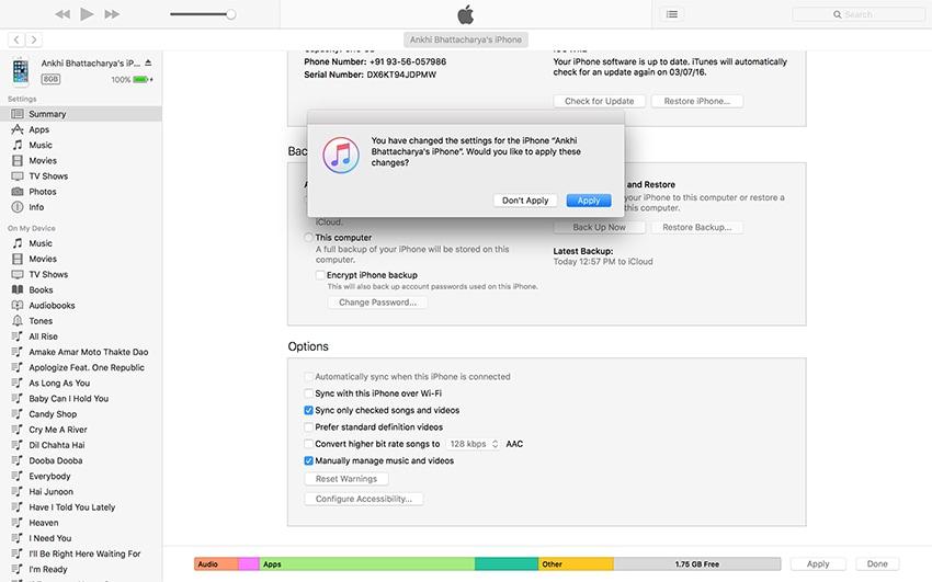 Excluir vídeos do iPhone - Clique em Aplicar botão