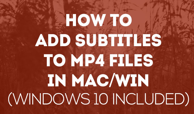 How to Add Subtitles to MP4 Files in Mac/Win (Windows 10 included)