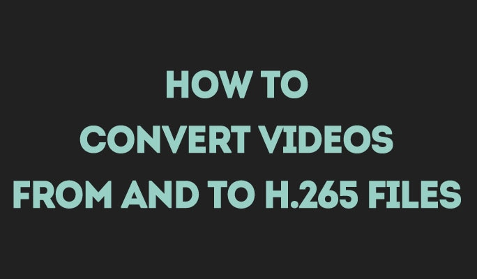 How to Convert Videos from and to H 265 Files