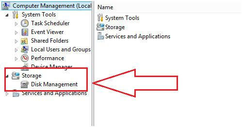 find the disk management to repair flash drive