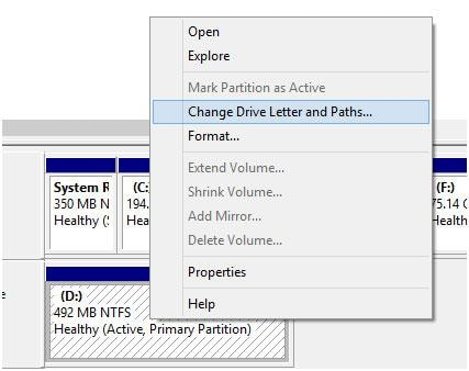 change drive letter and paths to repair flash drive