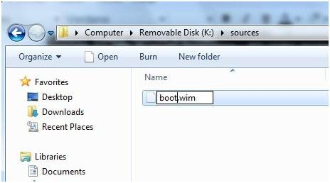 Rename files to restore Windows 7 with a usb recovery Drive