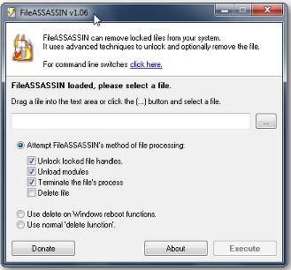 utiliser FileASSASIN pour supprimer des fichiers non modifiables