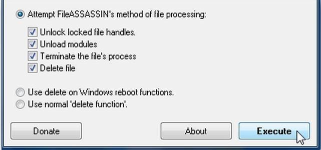 exécuter pour supprimer des fichiers non modifiables