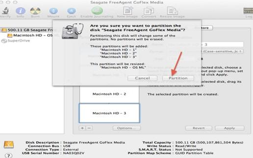 dcréer une partition sur Mac OS X
