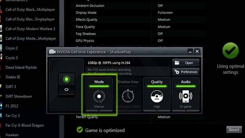 Gravador de experiência Nvidia GeForce