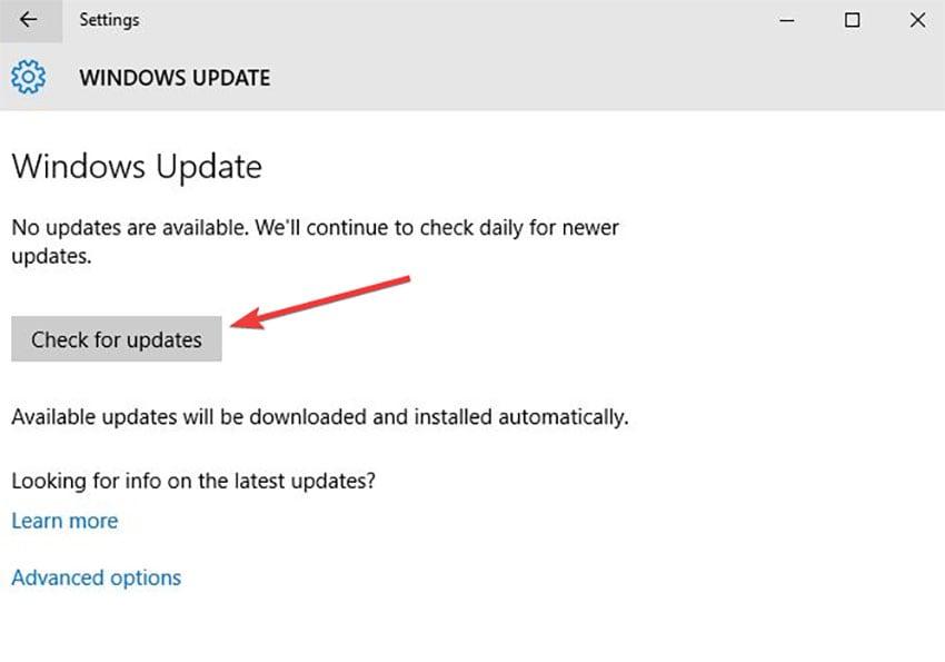 Actualización del controlador de Windows