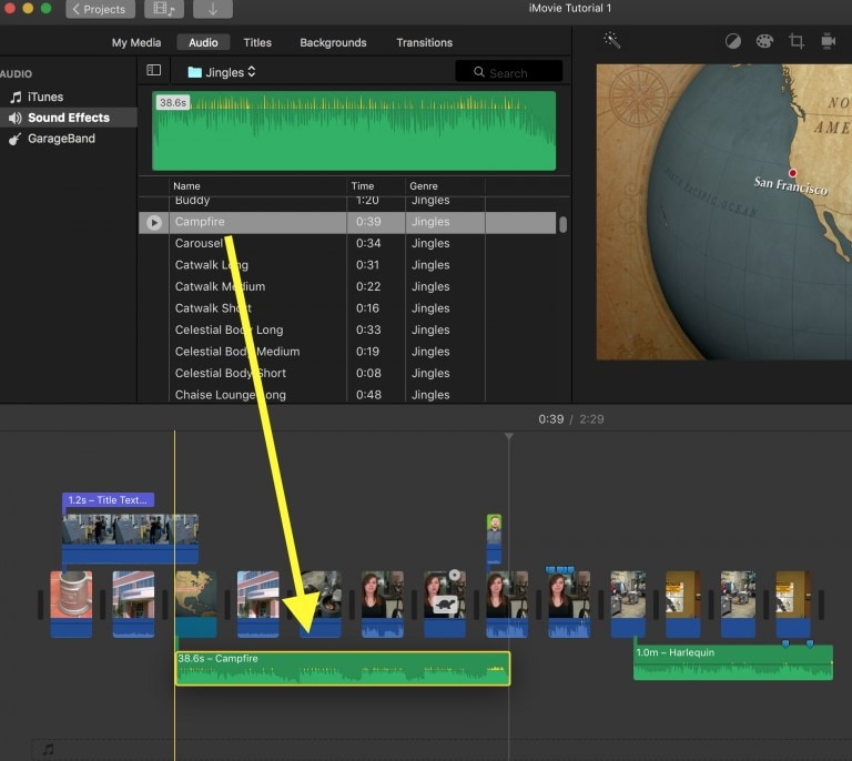add recorded music to imovie