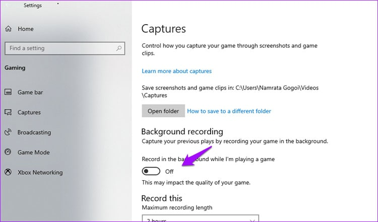 backfround recording Windows 10